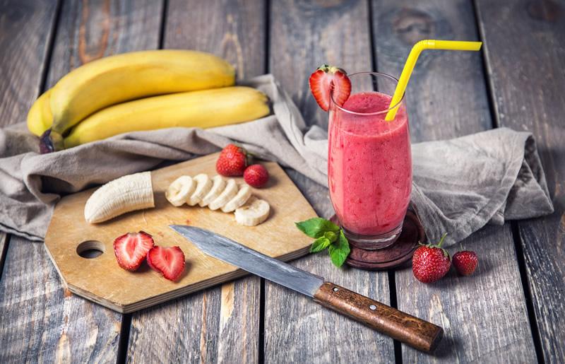 aardbei banaan smoothie maken
